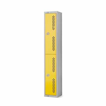 Elite perforated locker, 2 door, 1800x300x300 mm, yellow