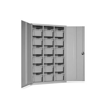 High capacity storage cupboard, 18 trays, 1830x1120x457 mm, clear