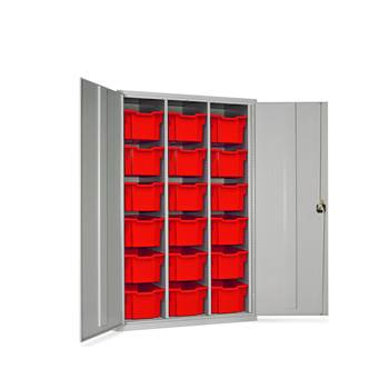 High capacity storage cupboard, 18 trays, 1830x1120x457 mm, red