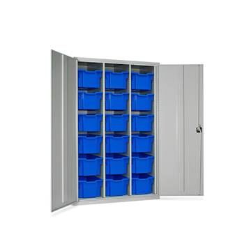 High capacity storage cupboard, 18 trays, 1830x1120x457 mm, blue