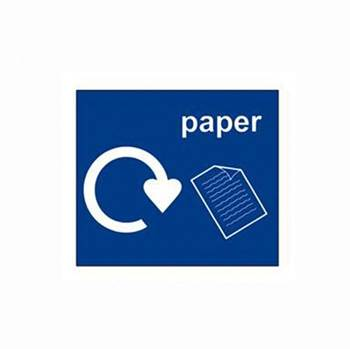 Recycling sticker, paper, 150x130 mm, blue