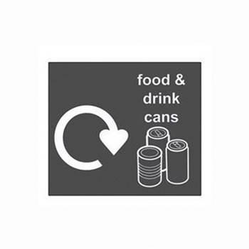 Recycling sticker, food & drink, 150x130 mm, grey