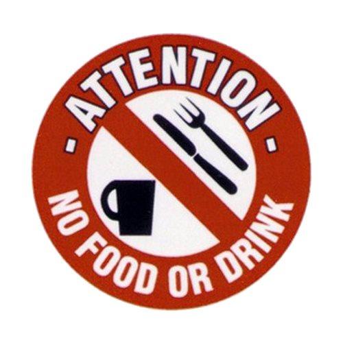 Graphic floor sign: No food or drink