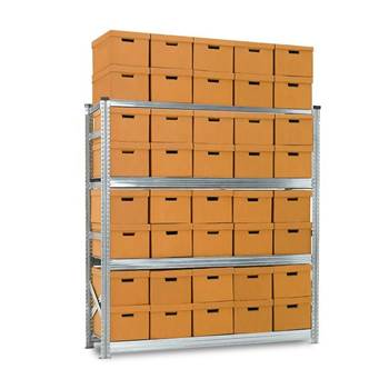 Archive shelving with boxes, basic unit, 4 shelves, 1972x1877x550 mm