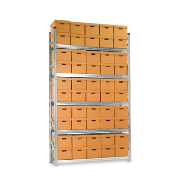 Archive shelving with boxes, basic unit, 5 shelves, 3028x1877x550 mm