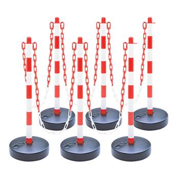 Plastic post chain set, 6-pack, hollow circular base, red-white
