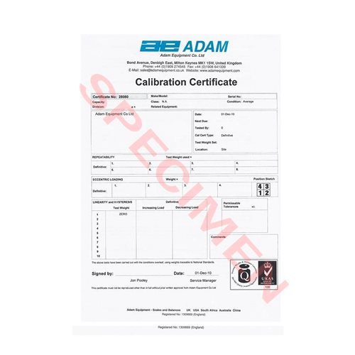 Calibration Certificate for heavyweight scales