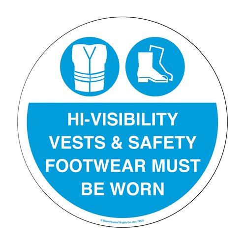 Graphic floor sign: Hi-vis…must be worn