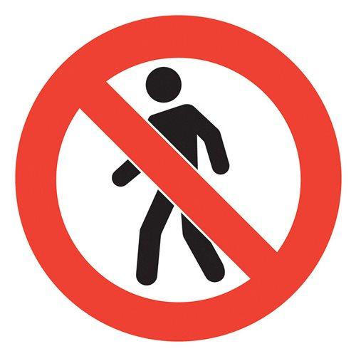Graphic floor sign: No pedestrians