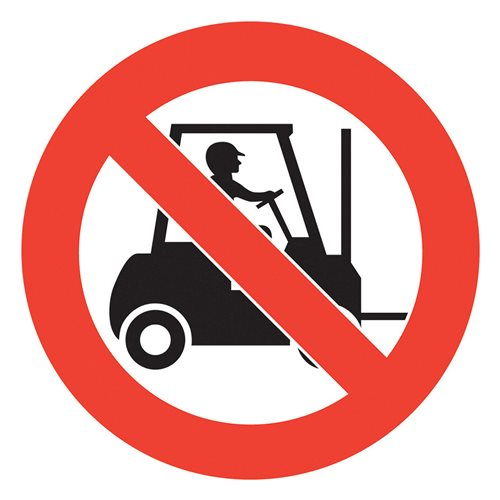 Graphic floor sign: No forklifts