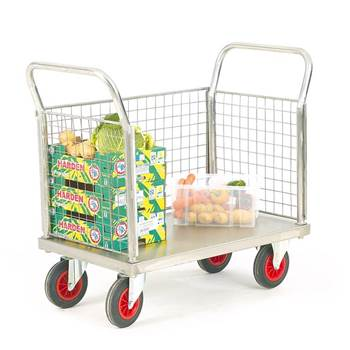 Stainless steel platform trolley: 3 mesh sides
