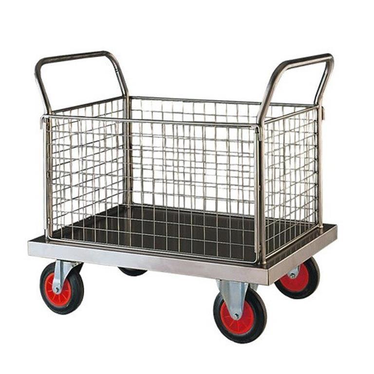 Stainless steel platform trolley: 4 mesh sides