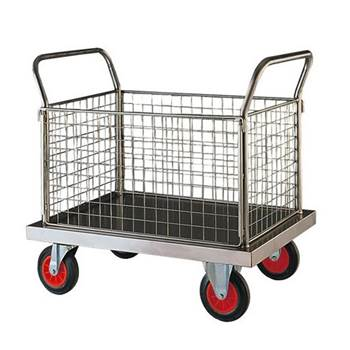 Stainless steel platform trolley: 4 mesh sides