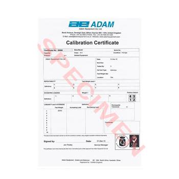 Calibration certificate for large & pallet scales