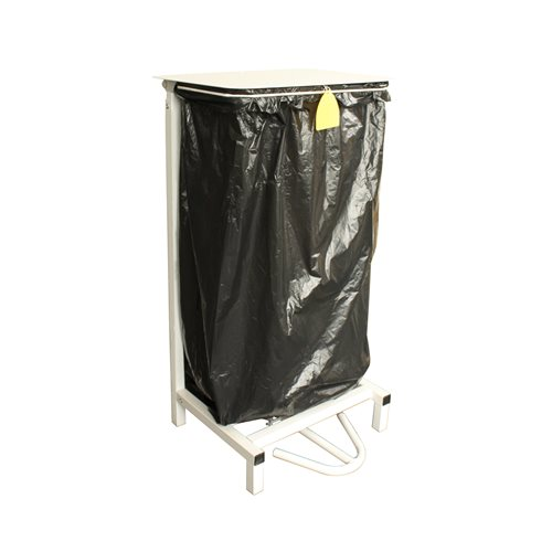 Pedal-operated refuse bag holder with lid