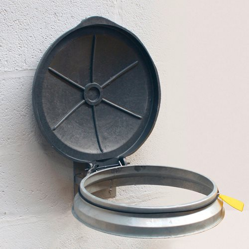 Round wall mounted refuse sack holder: galvanised