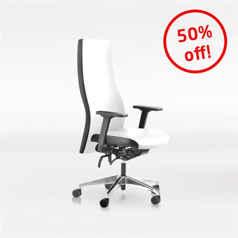 """""""Famous"""" office chair: leather: white"""