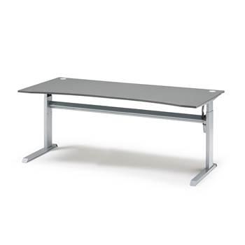 Flexus skrivebord med midterbue, elektrisk, 2000x1000 mm, grå laminat