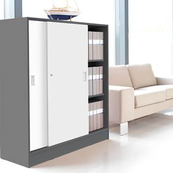 Szafy biurowe - Kolor korpusu: Szary, Kolor drzwi:, Biały