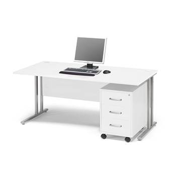 #en Package deal: Flexus desk, 1600x800 mm, pedestal with 3 drawers, white