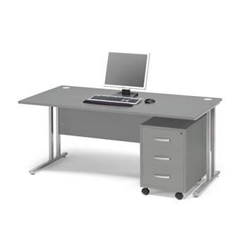 Package deal: Flexus desk, 1600x800 mm, pedestal with 3 drawers, grey lamin