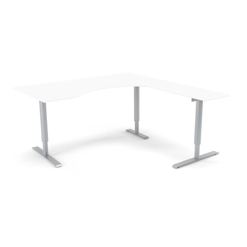 Ekstra dużo biurko ADEPTUS ergonomiczne prawoskrętne, Biały laminat, Stelaż