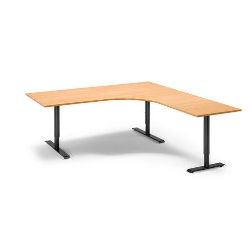 Kulmatyöpöytä, oikea, manuaalinen, 1800x2000 mm, pyökkilaminaatti, musta