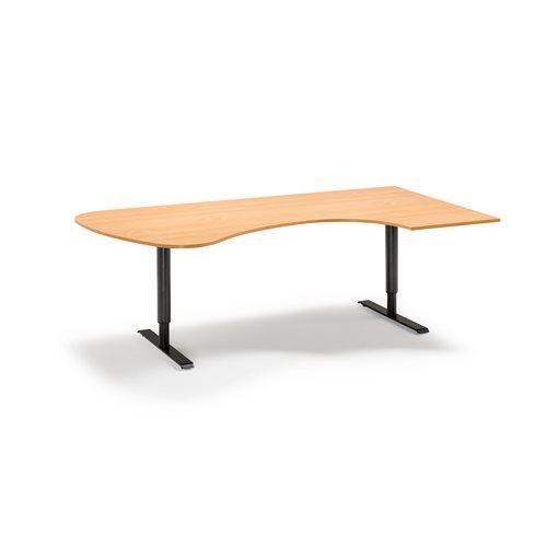 Kulmatyöpöytä, oikea, manuaalinen, 2200x1200 mm, pyökki, musta