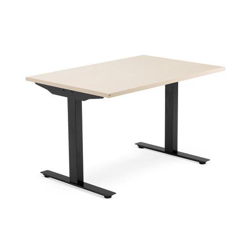 biurko Modulus, rama T, 1200x800 mm, czarna rama, brzoza
