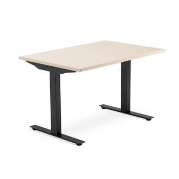 Modulus desk, T-frame, 1200x800 mm, black frame, birch