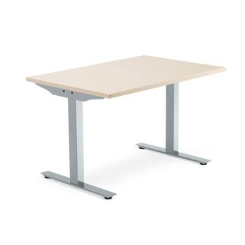 Modulus desk, T-frame, 1200x800 mm, silver frame, birch
