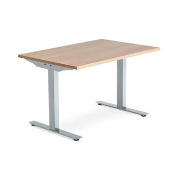 Modulus desk, T-frame, 1200x800 mm, silver frame, oak