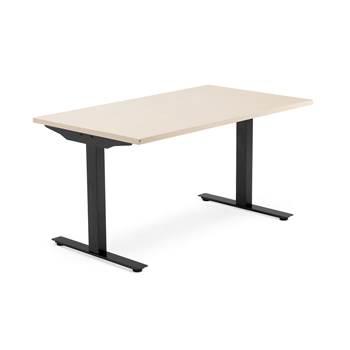 Modulus desk, T-frame, 1400x800 mm, black frame, birch