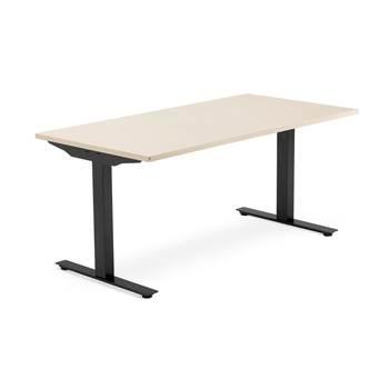 Skrivebord Modulus, t-stativ, 1600x800 mm, svart, bjørk