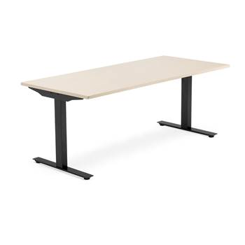 Skrivbord Modulus, t-stativ, 1800x800 mm, svart, björk
