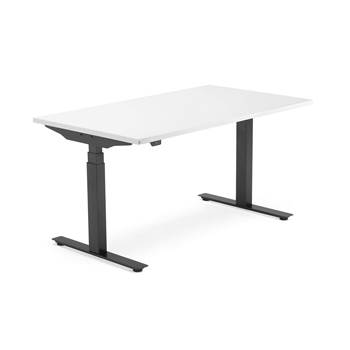 Skrivebord Modulus, el t-stativ, 1400x800 mm, svart, hvit