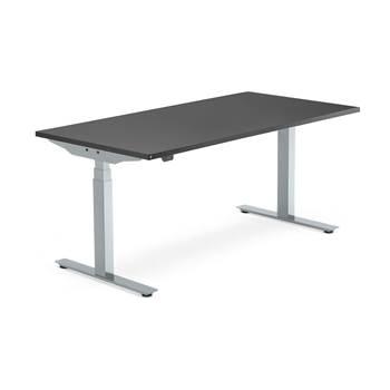 Skrivebord Modulus, el t-stativ, 1600x800 mm, sølv, svart