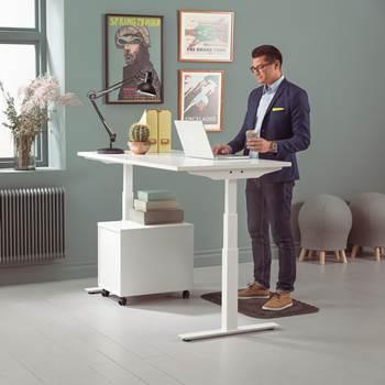 Skrivbord Modulus, el t-stativ, 1600x800 mm, vit, vit