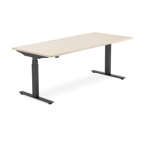 Sähköpöytä Modulus, T-jalusta, 1800x800 mm, musta jalusta, koivu