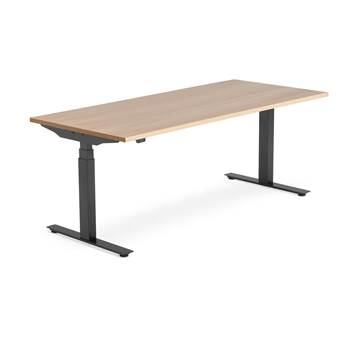 Modulus standing desk, 1800x800 mm, black frame, oak