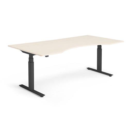 Sähköpöytä Modulus, syvennys, 2000x1000 mm, musta jalusta, koivu