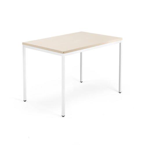 Biurko Modulus, rama 4 nogi, 1200x800 mm, biała rama, brzoza