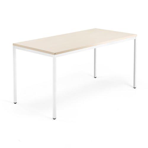 Työpöytä Modulus, 4 jalkaa, 1600x800 mm, valkoinen jalusta, koivu