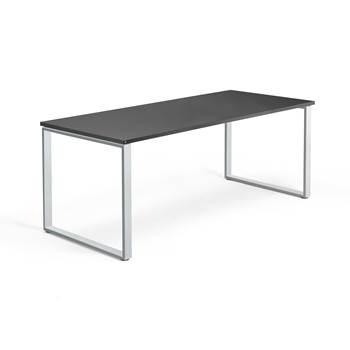 Skrivbord Modulus, o-stativ, 1800x800 mm, silver, svart