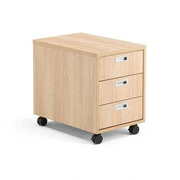 Modulus mobile pedestal, 3 drawers, oak