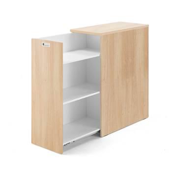 Kontenerek do biurka Modulus wysoki, 1 szuflada lewa, dąb