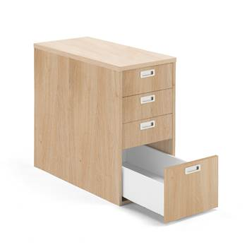 Modulus desk high pedestal, 4 drawers, oak