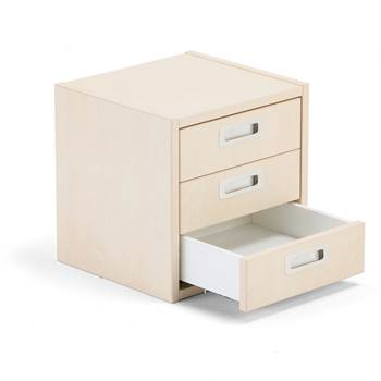 Modulus drawer unit, 3 drawers, birch