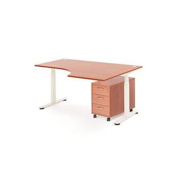 Pakke: Hjørneskrivebord hev/senk, 1600x1200mm, høyre, 3-skuff hurts, calvad
