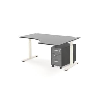 Package deal: height adjustable desk, right, 1600x1200 mm + pedestal, grey